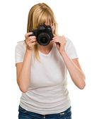 Jonge vrouw fotograferen — Stockfoto