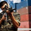 Soldier Gunman Aiming His Target - Stockfoto