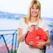 Woman Holding Life Jacket — Stock Photo