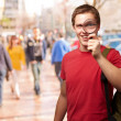 Portrait Of A Student Looking Through Magnifying Glass — Stock Photo #14056053