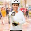Woman Wearing Helmet Showing Thumb Up — Stock Photo