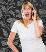Woman Talking On Cell Phone — Stock Photo