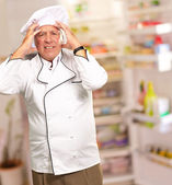 Portrait Of A Chef Having Headache — Stock Photo
