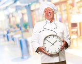 Potrait Of Chef Showing Watch — Stock Photo