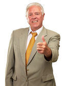 Portrait Of A Senior Male With Thump Up — Stock Photo