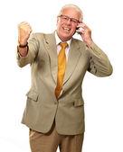 Senior Business Man Using Phone Cheering — Stock Photo