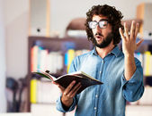 Portrait Of Man Reading Book — Stock Photo