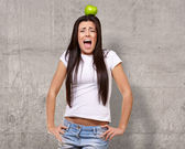 Young Girl With Apple On Head — Stok fotoğraf