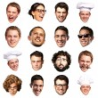Big collection of person faces over white background — Stock Photo #14422323