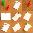 Collection Of Note Papers With Push Pin — ストック写真