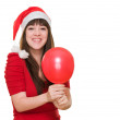 Happy christmas woman holding a balloon — Stock Photo #14425287