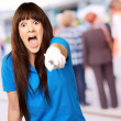 Woman screaming and pointing finger — Stock Photo #14428477