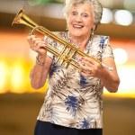 Portrait Of A Senior Woman Holding A Trumpet — Stock Photo