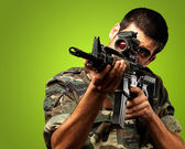 Soldier Gunman Aiming His Target — Stock Photo