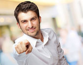 Portrait Of An Businessman Pointing Finger — Stock Photo