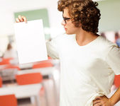 Portrait Of Man Holding A Blank Paper — Stock Photo