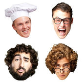 Collection of person faces over white background — Stock Photo