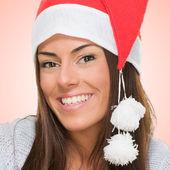 Piękny szczęśliwy kobieta w kapeluszu, Boże Narodzenie — Zdjęcie stockowe