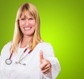 Female Doctor Showing Thumb Up — Foto de Stock