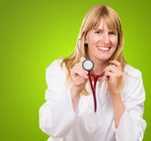 Happy Doctor Holding Stethoscope — Stock Photo