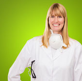 Female Doctor With Protective Mask Around Neck — Stock Photo