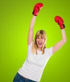Glad kvinnliga boxare jublar — Stockfoto