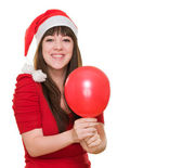 Happy christmas woman holding a balloon — Foto de Stock