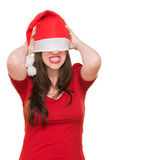 Donna arrabbiata con un cappello di natale che copre gli occhi — Foto Stock