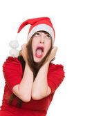 Podkreślił kobieta w kapeluszu, Boże Narodzenie — Zdjęcie stockowe