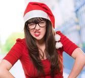 Zły kobieta Boże Narodzenie w okularach — Zdjęcie stockowe
