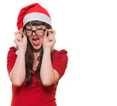Sexy christmas woman wearing glasses — Stock Photo