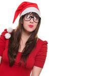 Jul kvinna bär glasögon och letar upp — Stockfoto