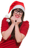 Glada julen kvinna som bär glasögon — Stockfoto