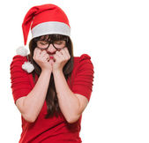 Excited christmas woman with her eyes shut — Stock Photo
