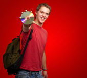 Portrait Of A Student Holding A Compact Disk — Stock Photo