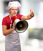 Portrait Of A Young Man With Megaphone — Stock Photo