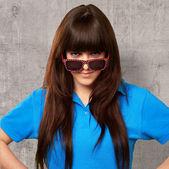 Teenage Girl With A Big Glasses — Stock Photo