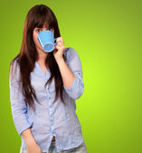 Woman Drinking From Cup — Stock Photo
