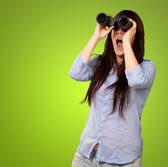 Portrait Of Young Woman Looking Through Binoculars — Stock Photo