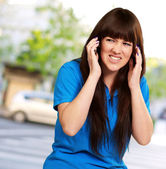 Woman Disturbed By Noise — Stock Photo