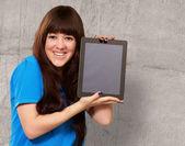 Woman Holding Ipad — Stock Photo