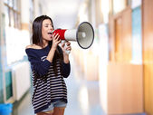 Portrait Of A Female With Megaphone — Stock Photo