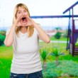 Portrait of a crazy woman shouting — Stock Photo