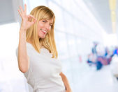 Happy Woman Showing Ok Sign — Stock Photo