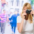 Woman Looking Through Old Camera — Foto Stock