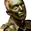 Portrait of a mad soldier — Stock Photo