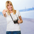 Happy Woman With Old Camera Showing Thumb Up — Stock Photo #14854511