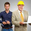 Two Happy Architect Engineers — Stock Photo