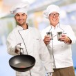 Portrait Of Two Happy Chef — Stockfoto
