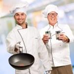 Portrait Of Two Happy Chef — Stock Photo